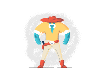 Gunslinger character revolver cowboy gunslinger westeren west hat graphic design illustration