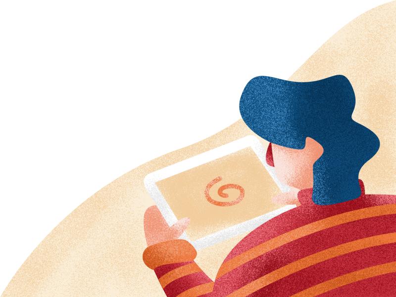 Buffering tablet man woman person slow internet buffering graphic design illustration