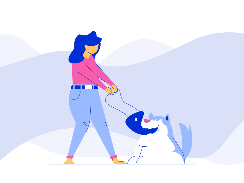 Bad Dog biting bag purse woman person dog line minimal simple graphic design illustration