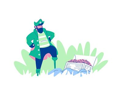 Pirate Booty treasure chest treasure jungle pirate minimal line simple graphic design illustration