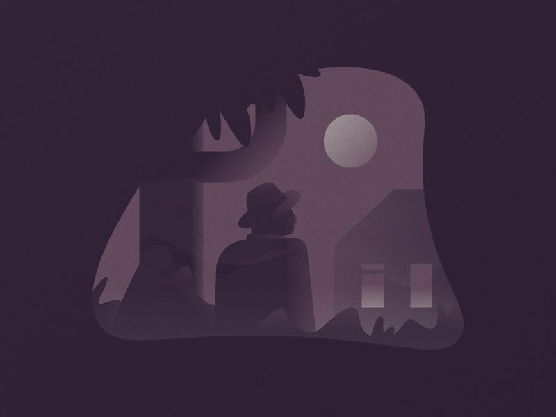 Creepy creeper creep creepy moon villa trees windows minimal house simple graphic design illustration