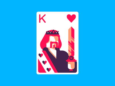 King Of Hearts playing cards playing card heart kingofhearts king retro minimal simple graphic design illustration
