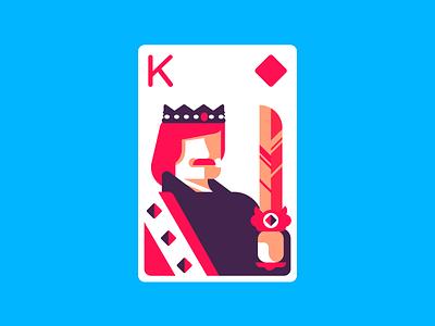 King Of Diamonds playing cards diamond diamonds king of diamonds king retro minimal line simple illustration graphic design