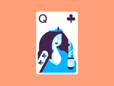Queen Of Clubs playing cards cards queenof clubs queen design retro minimal simple graphic design illustration