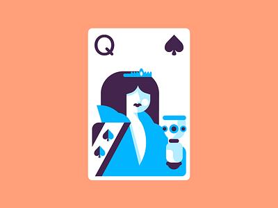 Queen Of Spades suitcards queenofspades queen cards retro minimal line simple graphic design illustration