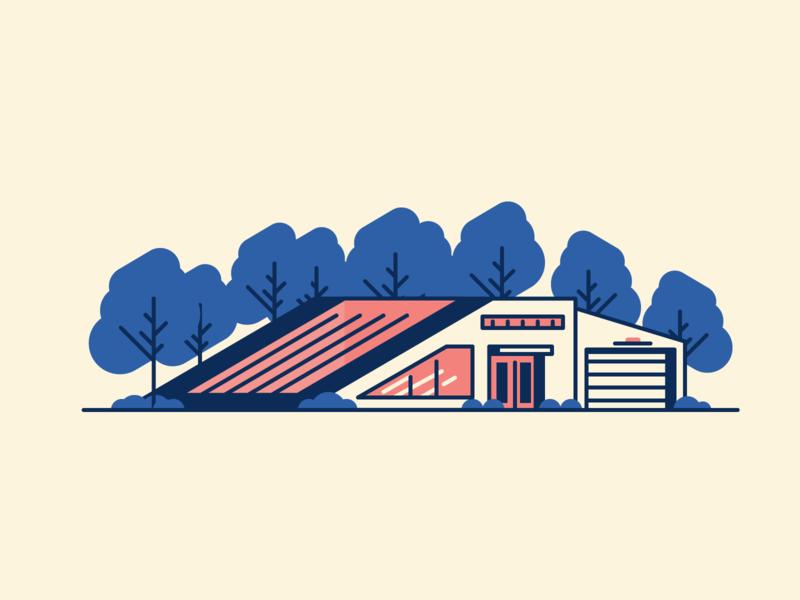 Tilted House grass villa trees retro windows minimal line house simple graphic design illustration