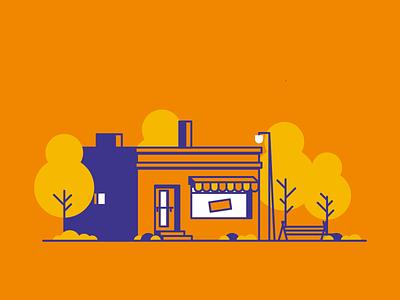 Brick Store brickwall bench store design grass retro trees windows icon minimal line simple illustration graphic design
