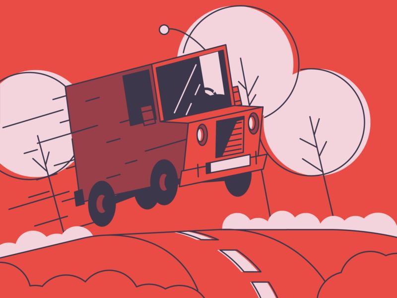 Vroooom road trees flying fast going fast speed car van icon minimal line simple graphic design illustration