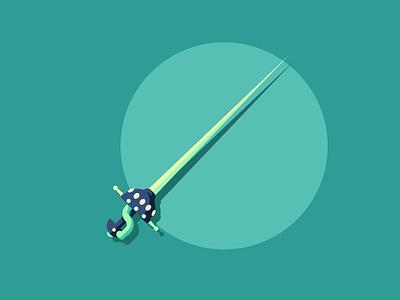 Rapier sharp pointy rapier sword design retro minimal graphic design illustration
