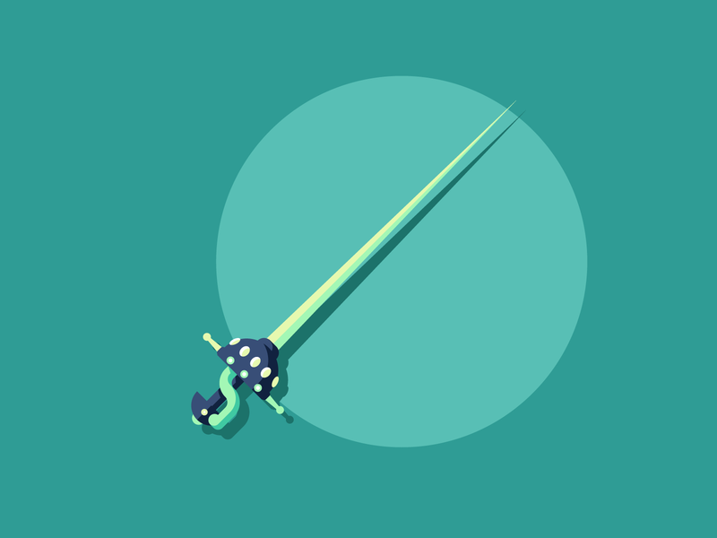 Rapier sharp pointy rapier sword design retro minimal graphic design illustration
