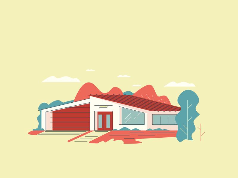 Modern Home graphicdesign grass villa trees windows retro minimal house line simple graphic design illustration