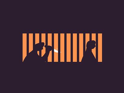 Thirteen halloween scary run murder knife windows retro line minimal simple graphic design illustration