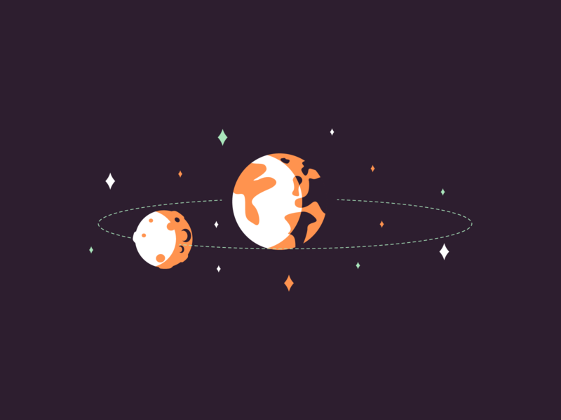 Moon moonlight tragectory space earth moon retro icon line minimal simple graphic design illustration