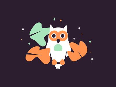 Owl owl tree night birds retro line simple minimal graphic design illustration