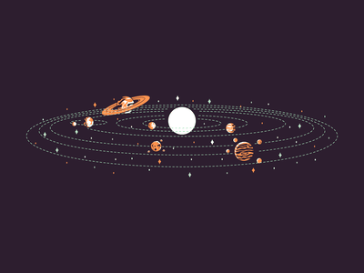 Saturn sky solar system saturn jupiter moon earth mars mercury venus sun retro line minimal simple graphic design illustration