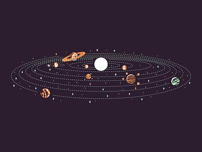 Neptune neptune uranus saturn jupiter mars moon earth venus mercury sun retro icon simple minimal graphic design illustration