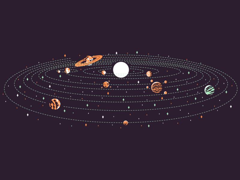 Pluto pluto neptune uranus saturn jupiter mars moon earth venus mercury sun retro line minimal simple graphic design illustration