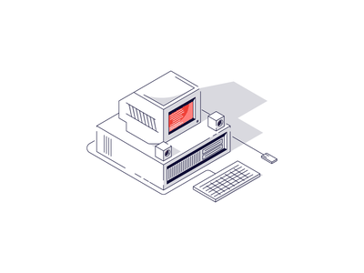 Isometric Computer mouse keyboard pc computer screen pixel line retro minimal simple graphic design illustration