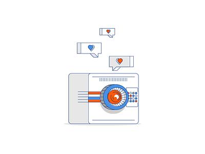 Social Media Love likes like social media machine follow love icon line minimal simple graphic design illustration