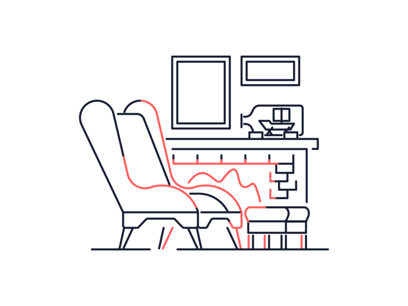 Break Corner relax paintings ship fire chair icon line minimal simple graphic design illustration