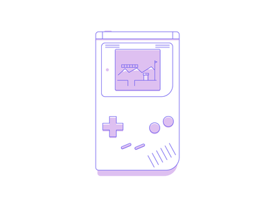 Gameboy pc console game mario gameboy icon line minimal simple graphic design illustration