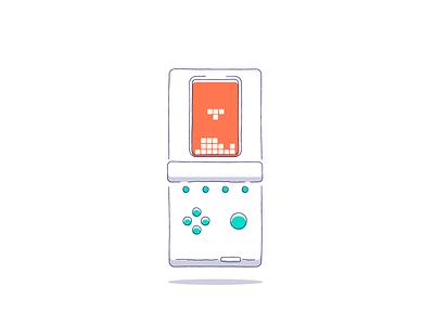 Tetris play console tetris icon retro line minimal simple graphic design illustration