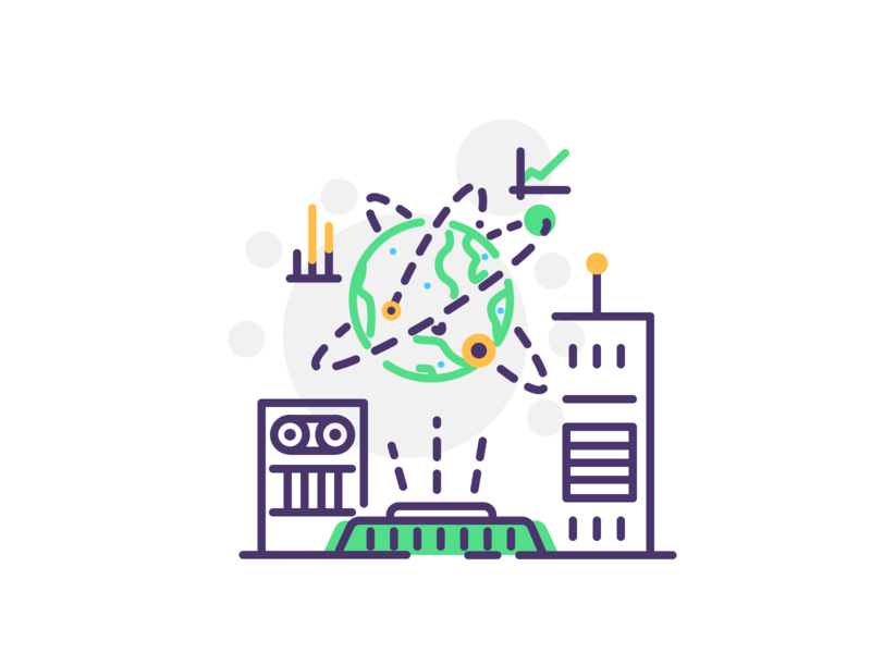 Style Daily earth day trajectory tech future earth icon line simple minimal graphic design illustration