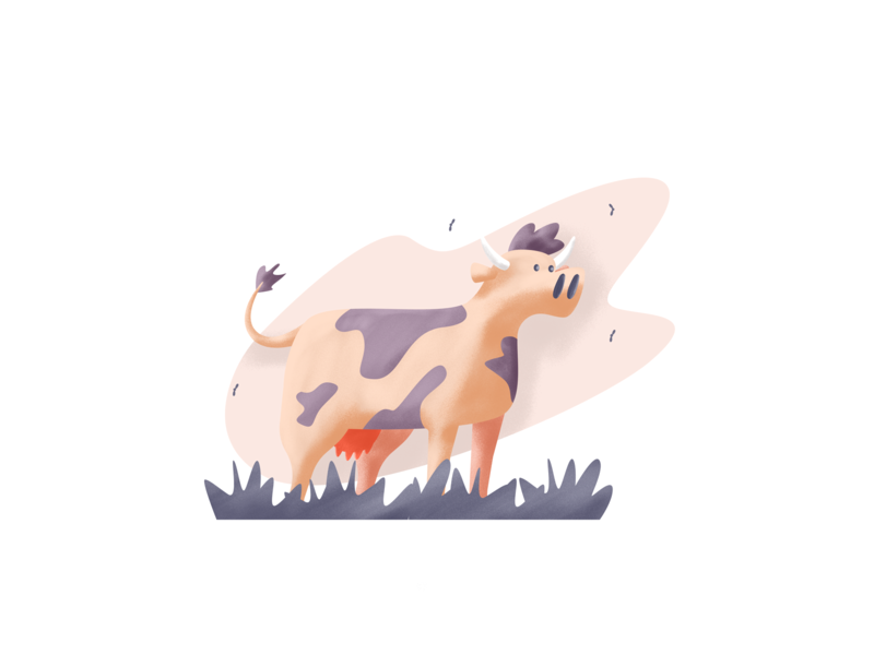 Cow dumb horns flyes grass cow retro simple graphic design illustration