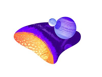 Planets space moon sun stars planets retro minimal simple graphic design illustration