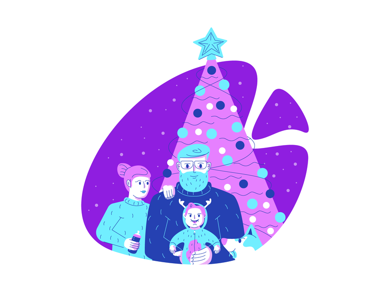 Family Time christmas tree woman man child dog christmas retro line minimal simple graphic design illustration