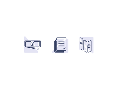 Icon Style Test map papers money icon line minimal simple graphic design illustration