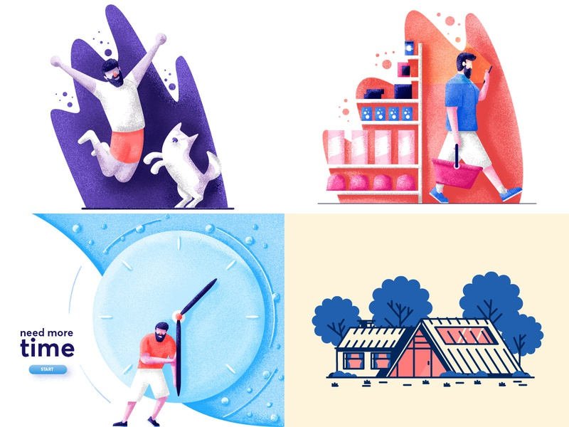 Top 4 of 2018 person dog happy shopping clock house simple graphic design illustration