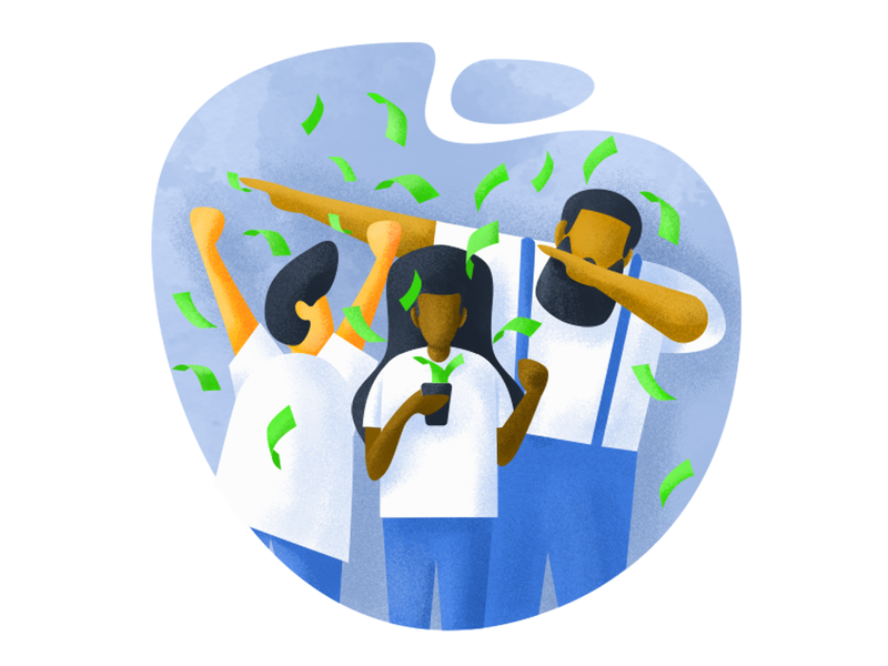 Gettin' Paid! textures money phone app people man woman payment graphic design illustration