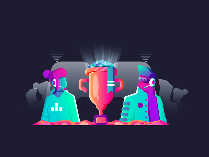 Player VS Player players esports video games games person woman man versus champion neon retro simple graphic design illustration