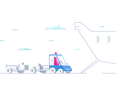 Luggage Car plane delivery packages divio clouds sky airplane windows line simple minimal illustration