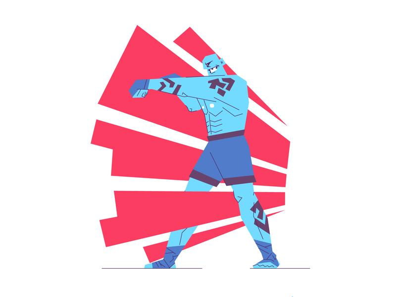 Diamond Breaker! aggresive person man fighters martial arts mma boxing boxer fighter retro line graphic design illustration