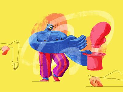 The Magician magician top hat bad guy evil man bald hands glove fighter line retro illustration