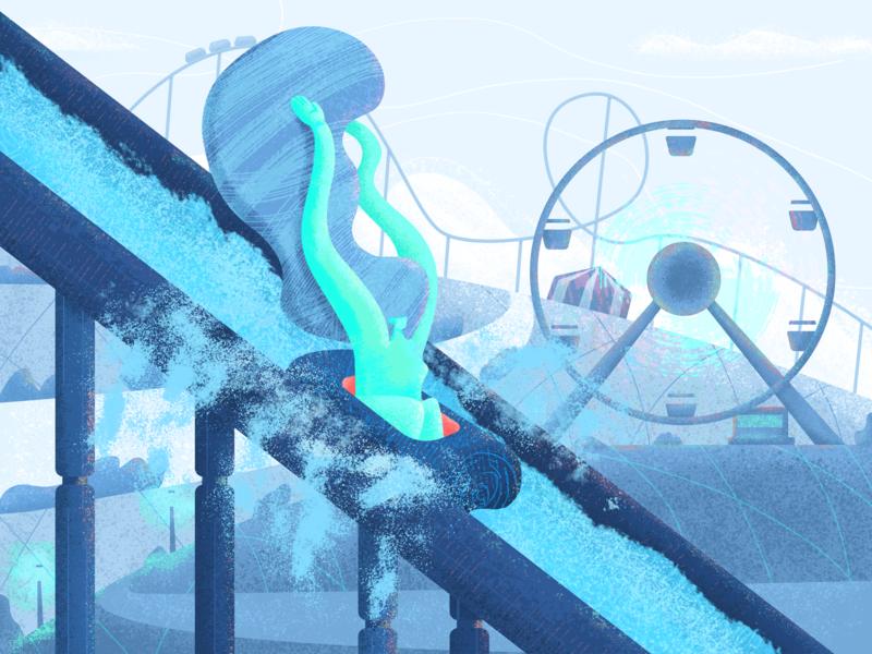 Splash! textures speed person woman live ferris wheel water roller coaster amusement park design graphic design illustration