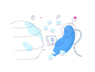 In space! future planet earth spaceship space divio retro line minimal simple graphic design illustration