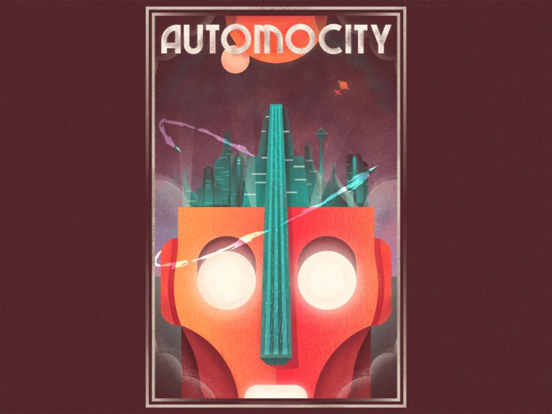 AUTOMOCITY stars planets science fiction sci-fi future robotics robot retro graphic design illustration