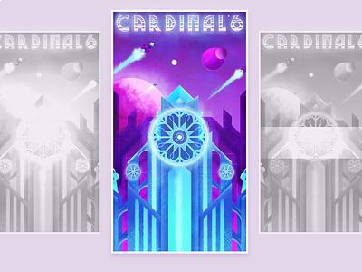 Cardinal 6 retrowave future hologram neon retro illustration 80s spaceship space 6