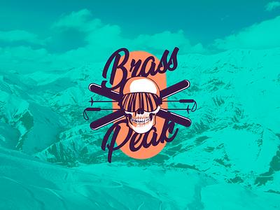 DAY 8 SKI MOUNTAIN LOGO logooftheday peak brass ice mountain ski skull badge typography illustration vector design 50dayschallenge logo branding brand dailylogo dailylogochallenge