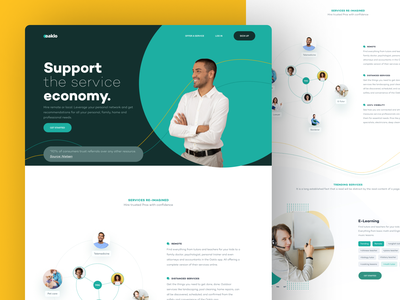 Oaklo - Home Page job remote elearning freelance on-demand covid19 service clean website ux ui