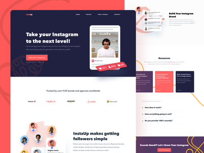 InstaUp Home Page trend landing page home page website profile influencer social colors growth instagram ux ui clean
