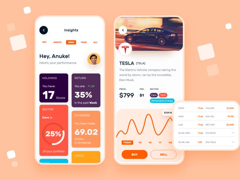Stock Market | Mobile App dashboard insight stock mobile app ux ui minimal clean