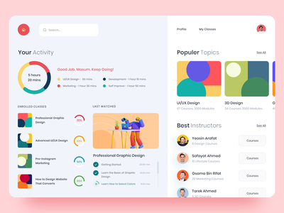 Online Course - Student Dashboard UI Exploration online course education trainer instructor classes courses student web app dashboard feed ui clean ux