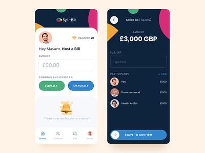 UX Update on SplitBill Mobile App mobile app simple payment splitbill dashboard ui clean ux