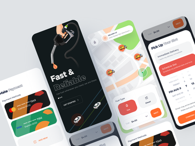 Fuel Delivery Mobile App UI Exploration gas delivery oil slot schedule payment repair car service on demand orders map clean ux ui ios fuel fleet management