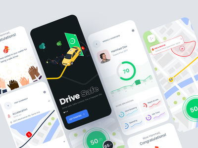 Drive-Safely Mobile App route score breakdown fuel accelerate speed trip delivery dashboard wallet saferoad car logistic vehicle management fleet management weekly overview map driver