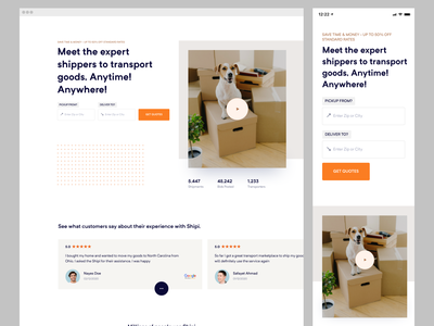 Shipi - Responsive Website moving website ux ui transport cargo shipping home delivery delivery logistics